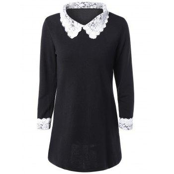 Lace Spliced Flat Collar Casual Dress Fall