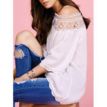 Trendy Off The Shoulder Cut Out Blouse For Women - WHITE WHITE