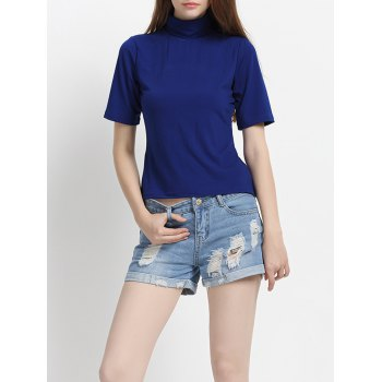 Pure Color Half Sleeves Turtle Neck T-Shirt