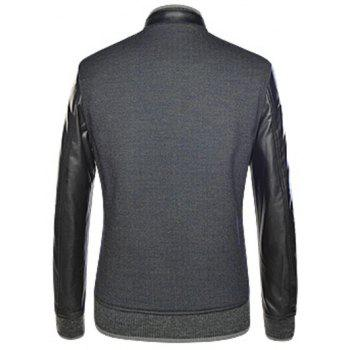 Manches longues en cuir patché Spliced ​​Snap bouton Up Jacket - Noir XL