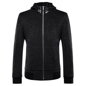 Long Sleeve Zip Up Drawstring Hooded Jacket - BLACK S