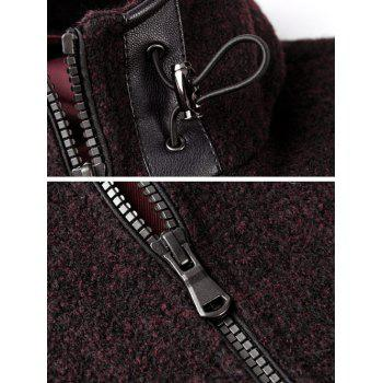 Long Sleeve Zip Up Drawstring Hooded Jacket - WINE RED WINE RED