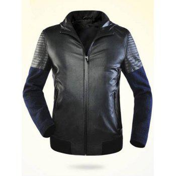 Ribbed Faux Leather Zippered Splicing Hooded Jacket - BLACK BLACK