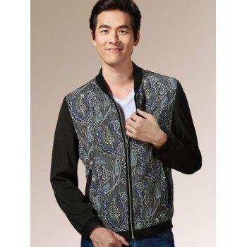 Stand Collar Long Sleeves Zip Up Printed Jacket - S S