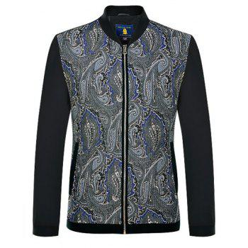 Stand Collar Long Sleeves Zip Up Printed Jacket - BLACK S