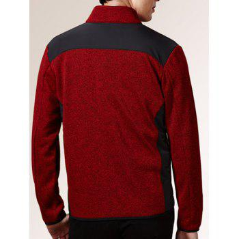 Stand Collar Zippered Color Splicing Napping Jacket - RED RED