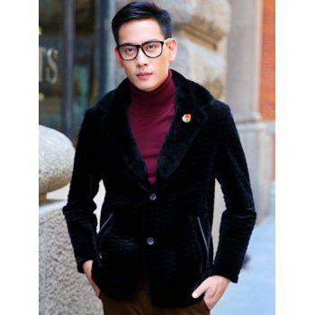 Long Sleeve Rhombus Pattern Fur Lapel Coat - BLACK BLACK