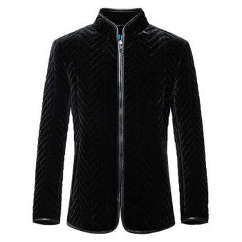 Zip Up Zigzag Seamed Leather Trim Coat - BLACK BLACK