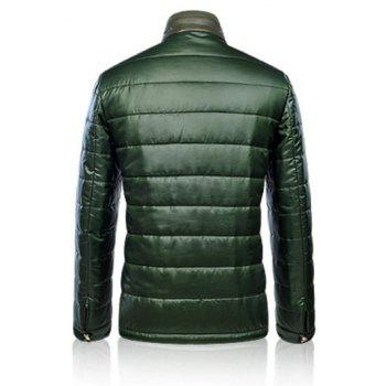 Leather Paneled Zippeded Patched Stand Collar Wadded Coat - GREEN GREEN