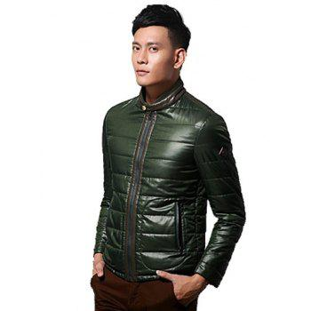 Leather Paneled Zippeded Patched Stand Collar Wadded Coat - S S