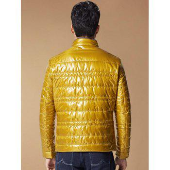 Stand Collar Zippered Long Sleeves Wadded Coat - YELLOW 2XL