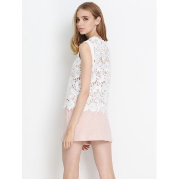 Laciness Floral Hollow Out Tank Top - WHITE WHITE