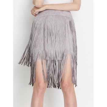 High Waist Tiered Fringed Suede Skirt - M M