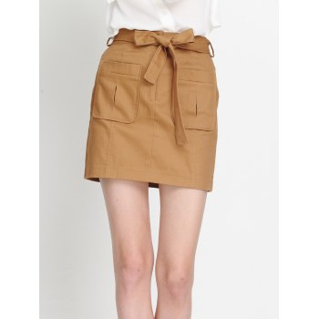 Pocket Design Bowknot Tied Skirt