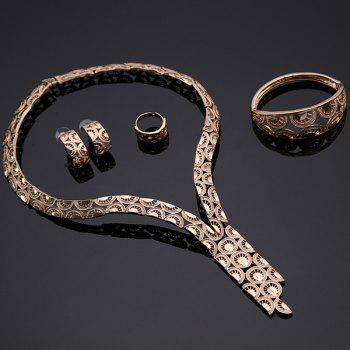 Graceful Rose Gold Cut Out Etched Wheel Shape Necklace Set For Women - ROSE GOLD