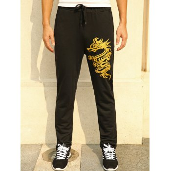 Lace-Up Straight Leg Golden Dragon Print Pants