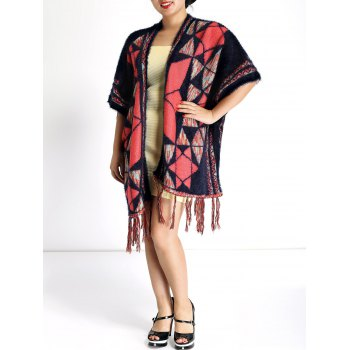 Ethnic Style Geometry Pattern Fringed Cape - COLORMIX COLORMIX