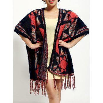 Ethnic Style Geometry Pattern Fringed Cape