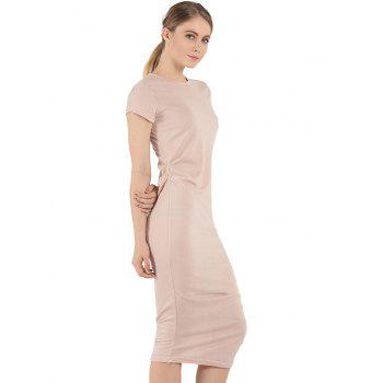 Short Sleeve Affordable Bodycon T-Shirt Dress - NUDE PINK NUDE PINK