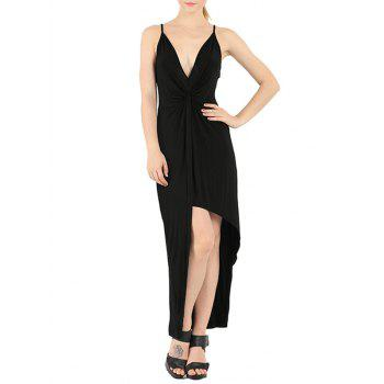 Plunge Knotted Slip Maxi Backless Club Dress