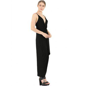 Plunge Knotted Slip Maxi Backless Club Dress - BLACK S
