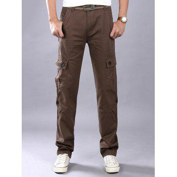 Plus Size Zipper Fly Straight Leg Slimming Pockets Design Cargo Pants