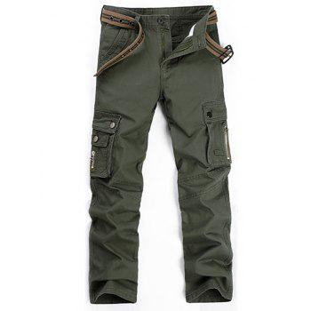 Buy Plus Size Zipper Fly Straight Leg Slimming Pockets Design Pants ARMY GREEN