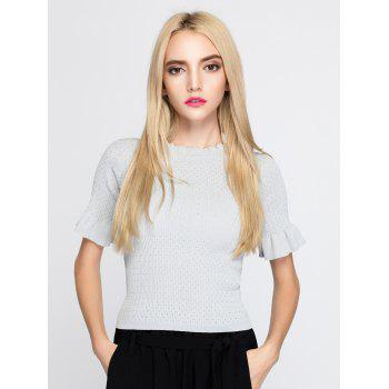Petal Sleeve Ruffle Collar Knit Tee