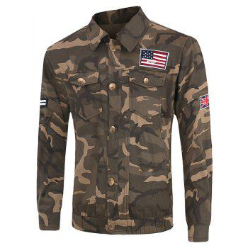 Plus Size Pockets Design Turn-Down Collar Long Sleeve Camouflage Cargo Jacket