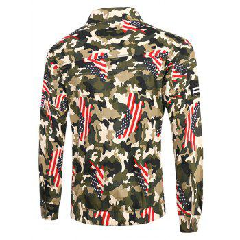 Plus Size Star and Stripe Print Turn-Down Collar Long Sleeve Camouflage Cargo Jacket - COLORMIX 5XL