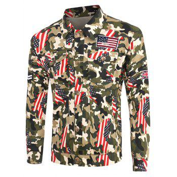 Plus Size Star and Stripe Print Turn-Down Collar Long Sleeve Camouflage Cargo Jacket