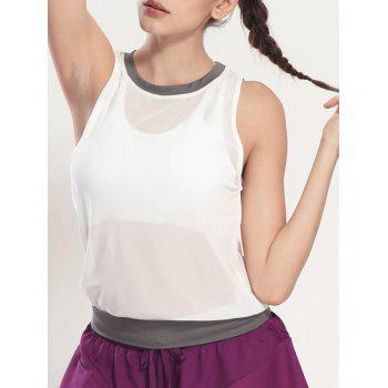 Color Block See Through Tank Top Gym - Blanc XL