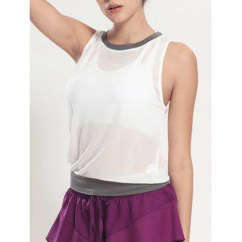 Color Block See Through Tank Top Gym - Blanc M