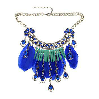 Faux Crystal Water Drop Feather Necklace