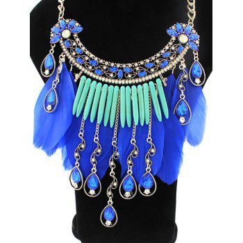 Faux Crystal Water Drop Feather Necklace - SAPPHIRE BLUE