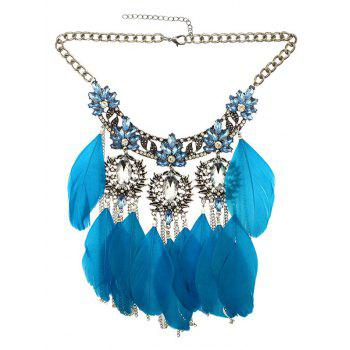 Rhinestone Faux Crystal Feather Leaf Necklace