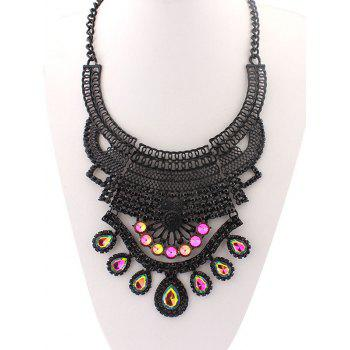 Faux Crystal Hollowed Water Drop Necklace - COLORMIX