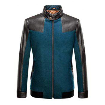 Stand Collar Zip-Up Leather Spliced Jacket