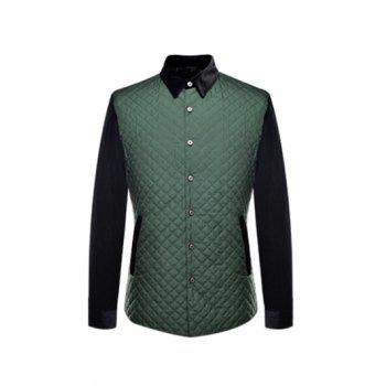 Argyle Spliced Turn-Down Collar Single Breasted Quilted Jacket