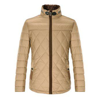 Stand Collar Geometric Pattern Padded Jacket