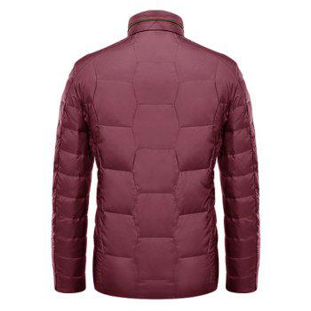 Geometric Zipper Up Stand Collar Padded Jacket - RED 2XL