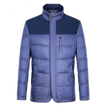 Stand Collar Zipper-Up Pockets Design Spliced Padded Jacket