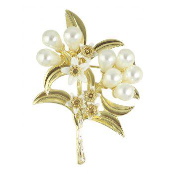 Buy Faux Pearl Alloy Leaf Floral Brooch GOLDEN