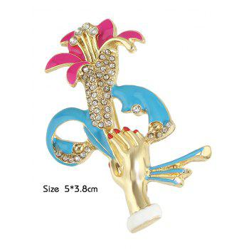 Strass main Lift Shape Floral Broche - Or