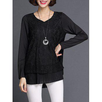 Lace Spliced Pleated Blouse