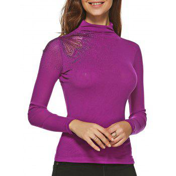 Embroidered Sheath T Shirt - PURPLE XL
