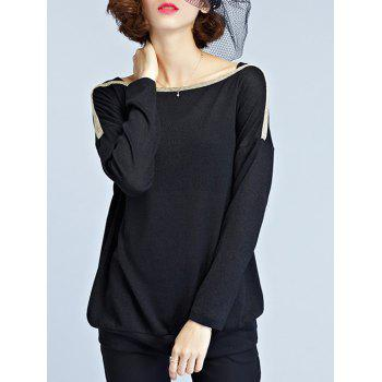 Slash Neck Long Sleeve T Shirt - L L
