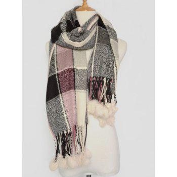 Winter Plaid Pattern Pompon Pendant Shawl Wrap Pashmina