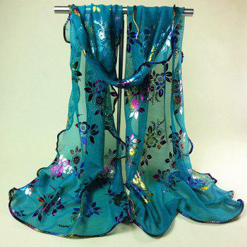 Chinese Yunnan Colorful Flowers Pattern Covered Edge Soft Scarf