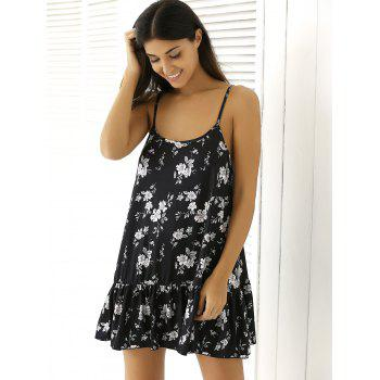 Floral Print Flounced Summer Dress - BLACK 2XL